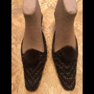 Size 10 brown tweed 2.5' heel mules w/ mink ball
